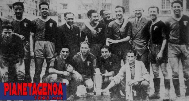 25 marzo 1945: Emilio Caprile con i capelli neri sotto Tosi che ha la giacca (Archivio Pianetagenoa1893.net)