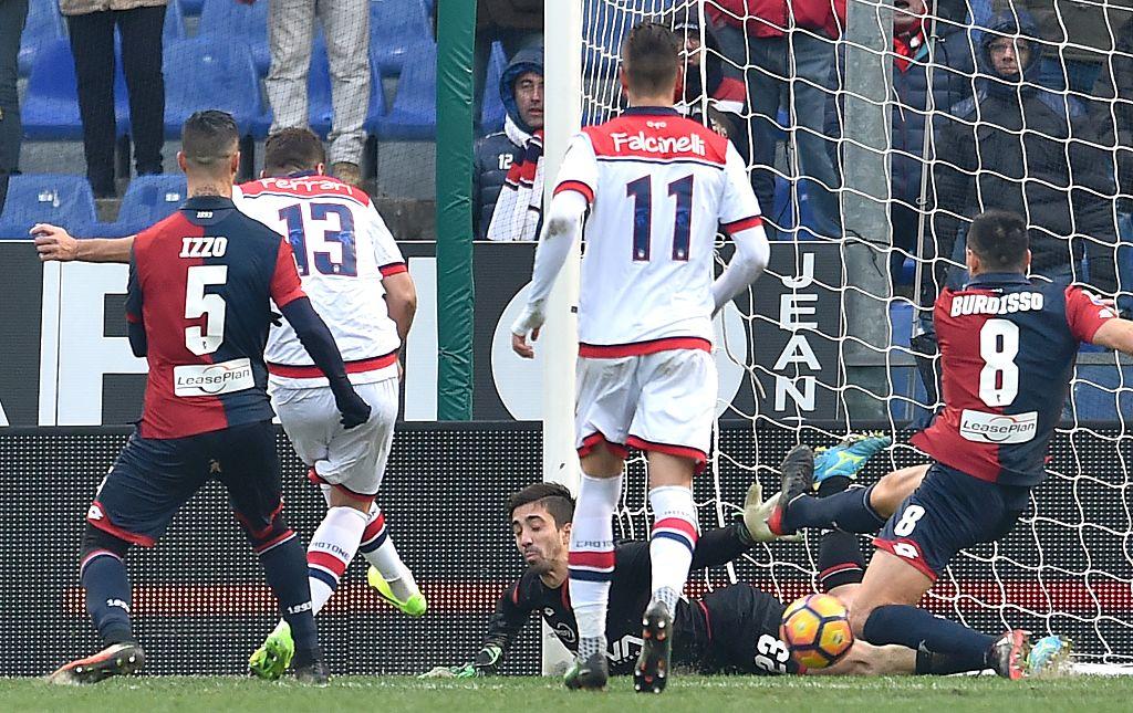 Gian Marco Ferrari segna il 2-2 del Crotone (Foto Paolo Rattini/Getty Images)