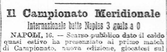 L'inizio della Gazzetta dello Sport che racconta la finale Internazionale Napoli-Naples (tratto da http://mariofadda.blogspot.it)