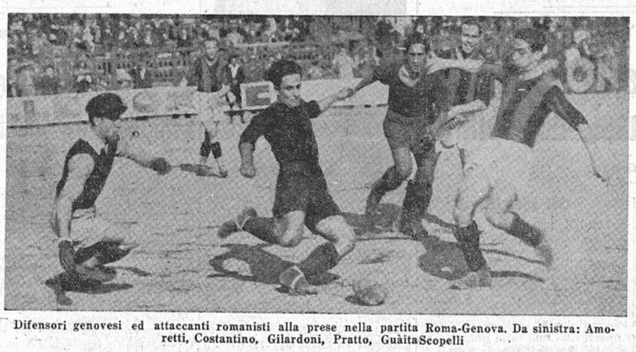 Un momento di Roma-Genoa del1934 (Foto Il Littoriale)