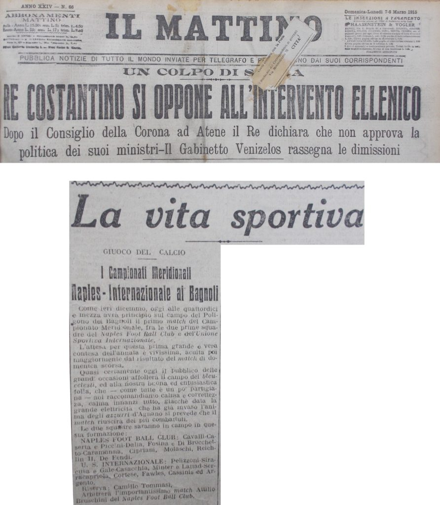 La copia de Il Mattino 7-8 marzo 1915 con ritagli da pagg. 1-3