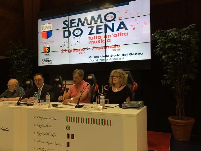Foto organizzatori mostra (da sinistra): Piero Campodonico, Giorgio Guerello, Giovanni Villani, Laura Monferdini (Foto Pianetagenoa1893.net)