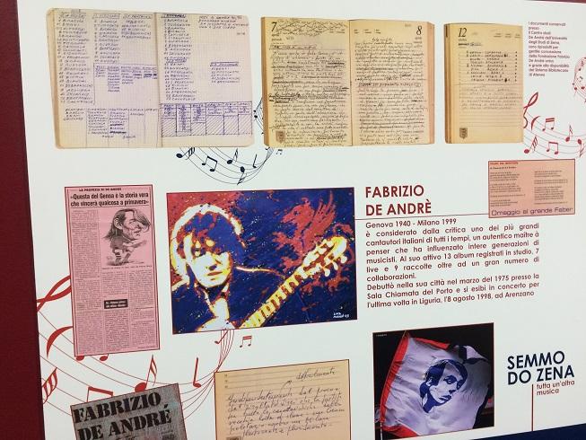 Riproduzione diari di De Andrè con la rosa del Genoa e i risultati di alcune partite (Foto Pianetagenoa1893.net)