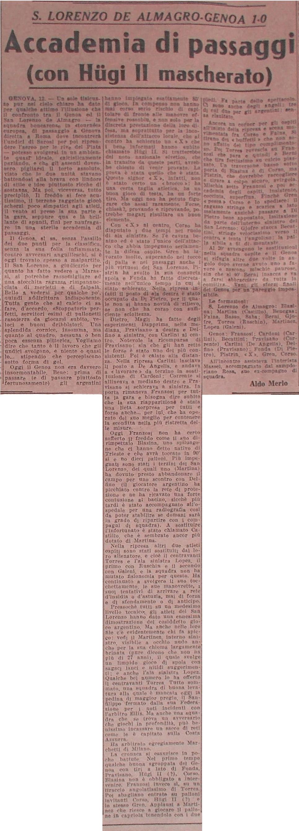 La Gazzetta dello Sport del 13 febbraio 1956 (Proprietà Fondazione Genoa)