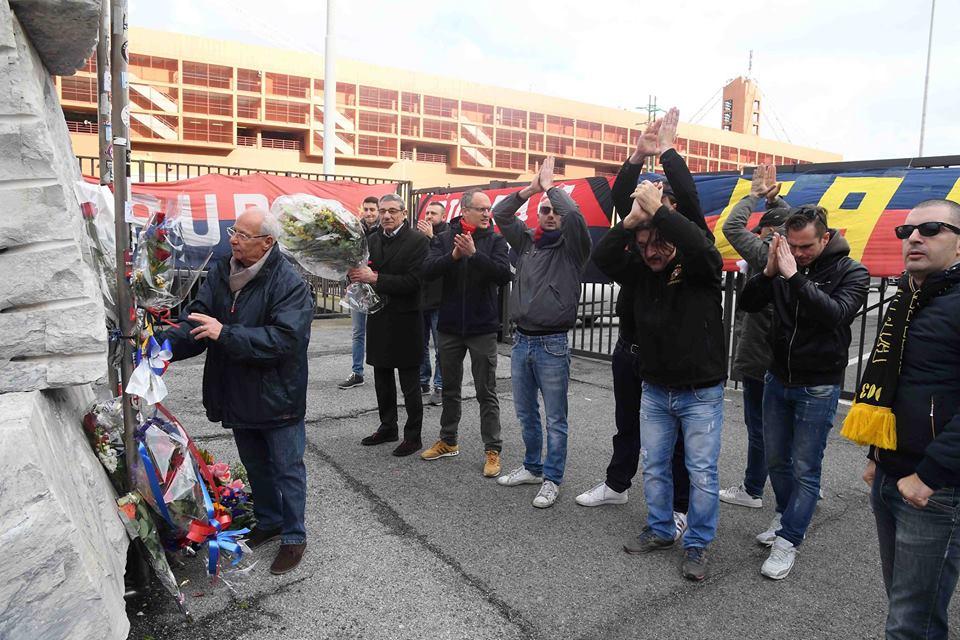La cerimonia in ricordo di Spagna (Foto Genoa cfc Tanopress)