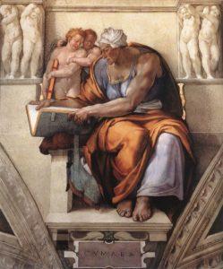 La Sibilla Cumana di Michelangelo nella Cappella Sistina (Foto da Wikipedia)