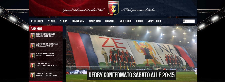 L'immagine della homepage del sito ufficiale del Genoa che conferma che il derby si giocherà sabato alle ore 20.45