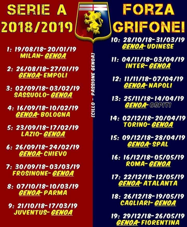 Calendario Serie A 18 19 Pdf.Il Calendario Del Genoa 2018 2019 Da Scaricare